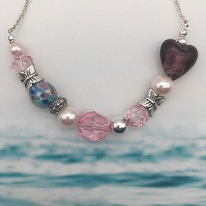 Butterflies and Heart Theme Necklace